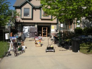 Shown here, mid-garage sale three years ago.